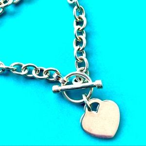 STERLING SILVER HEART TAG CHAIN CABLE BRACELET 925